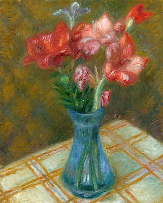 Gladiolas in Green Glass Vase Print by William Glackens