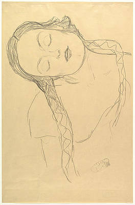 Half-figure of a Young Woman Print by Gustav Klimt