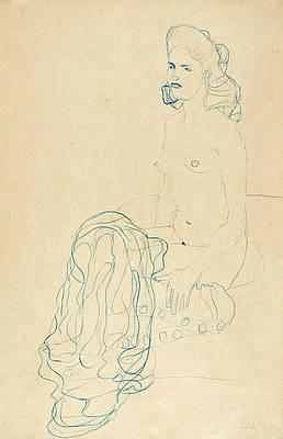Half Nude to the Left Print by Gustav Klimt