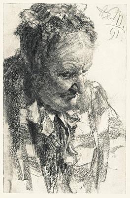 Head of a Woman. Downward Gaze Print by Adolph von Menzel