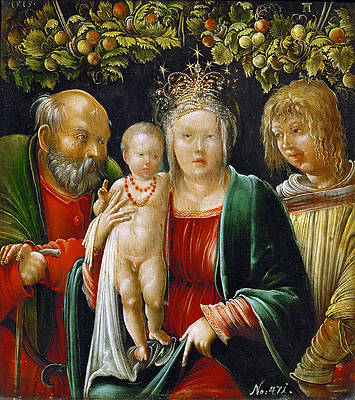 Holy Family and an Angel Print by Albrecht Altdorfer