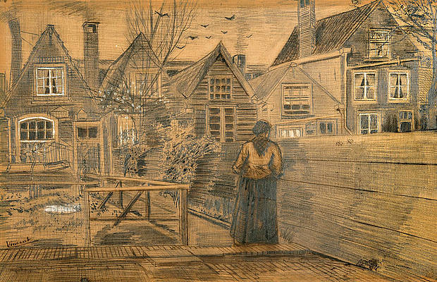 Houses seen from the back window of Sien's Mother's House Print by Vincent van Gogh