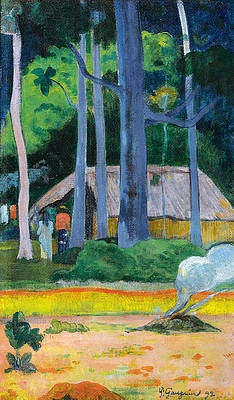 Hut in the Trees Print by Paul Gauguin