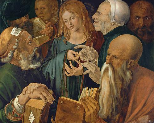 Jesus among the Doctors Print by Albrecht Duerer