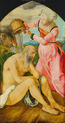 Job and His Wife Print by Albrecht Duerer