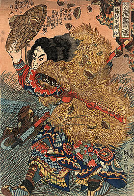 Kinhyoshi yorin hero of the Suikoden  Print by Utagawa Kuniyoshi