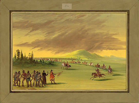 La Salle Meets a War Party of Cenis Indians on a Texas Prairie Print by George Catlin