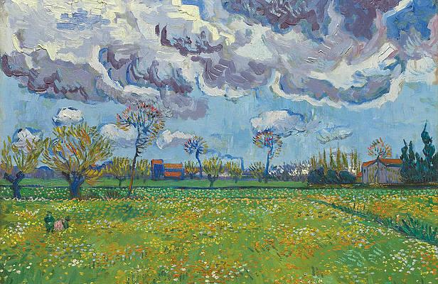Landscape Under A Turbulent Sky Print by Vincent van Gogh