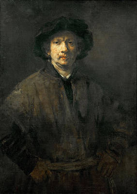 Large Self Portrait Print by Rembrandt