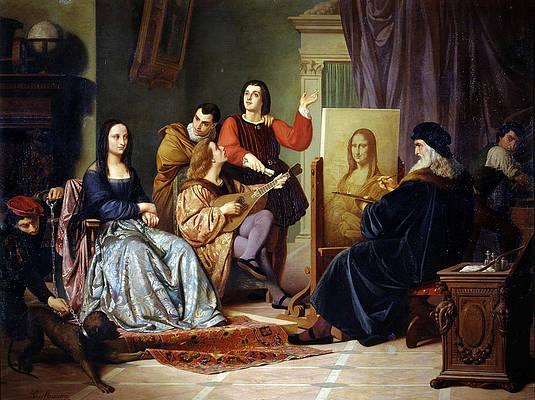 Leonardo da Vinci Painting the Mona Lisa Print by Cesare Maccari