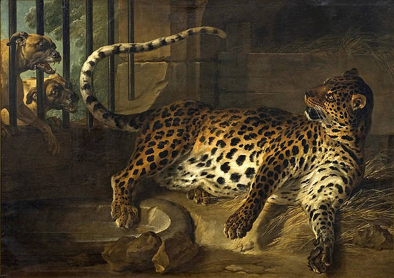 Leopard in a Cage confronted by two Mastiffs Print by Jean-Baptiste Oudry