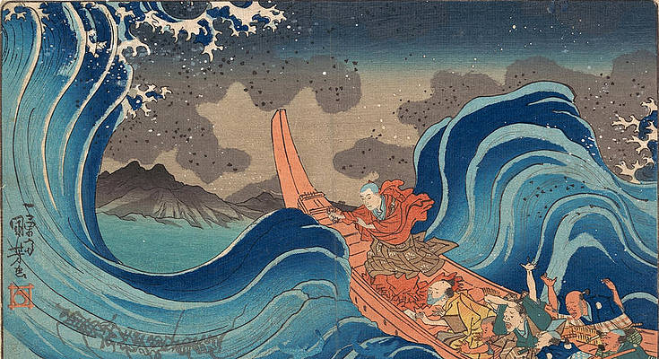 Life of Nichiren. A Vision of Prayer on the Waves Print by Utagawa Kuniyoshi