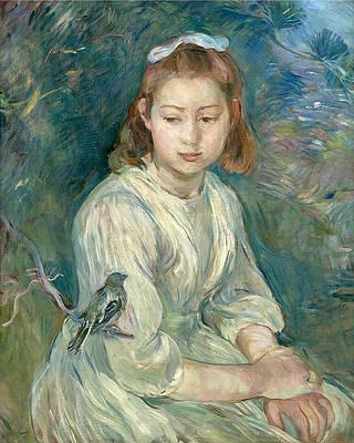 Little Girl with a Bird Print by Berthe Morisot
