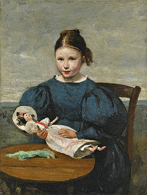 Little Girl with a Doll Print by Jean-Baptiste-Camille Corot
