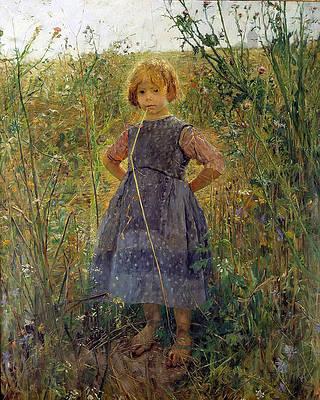 Little Heathland Princess Print by Fritz von Uhde
