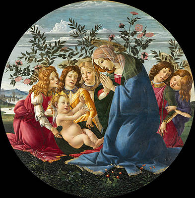 Madonna Adoring the Child with Five Angels Print by Sandro Botticelli