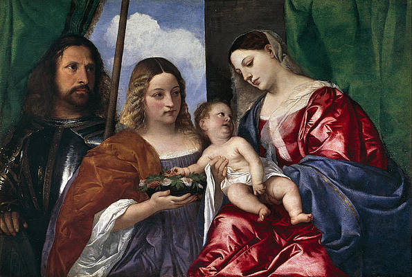 Madonna and Child with Saints Dorothy and George Print by Titian