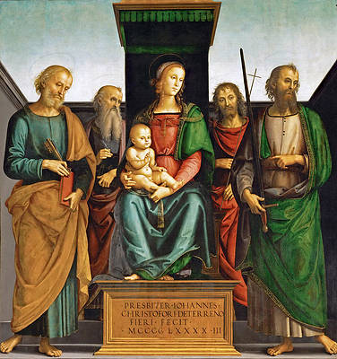 Madonna and Child with Saints Peter and Paul Print by Pietro Perugino