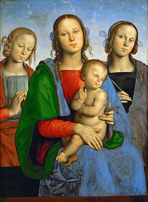 Madonna and Child with St Catherine and St Rosa Print by Pietro Perugino