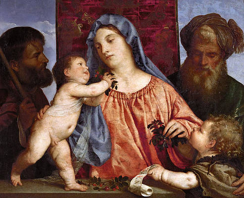 Madonna of the Cherries Print by Titian