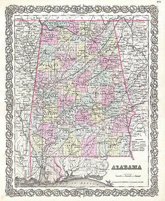 Map of Alabama Print by Joseph Hutchins Colton