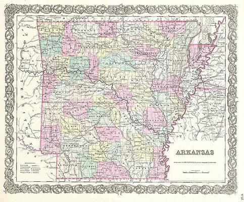 Map of Arkansas Print by Joseph Hutchins Colton