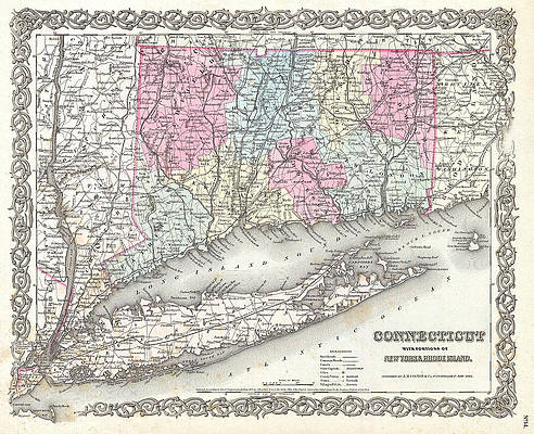 Map of Connecticut and Long Island Print by Joseph Hutchins Colton