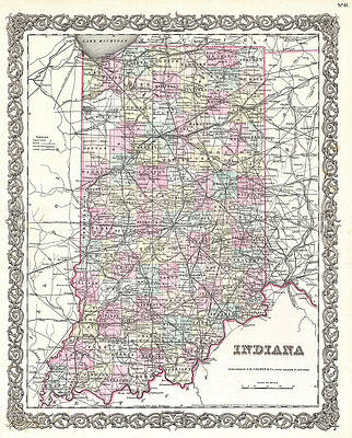 Map of Indiana Print by Joseph Hutchins Colton