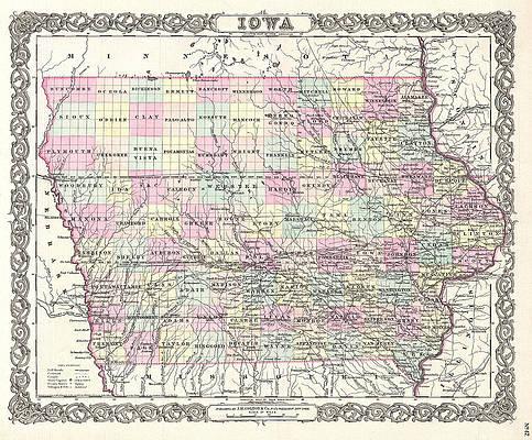 Map of Iowa Print by Joseph Hutchins Colton