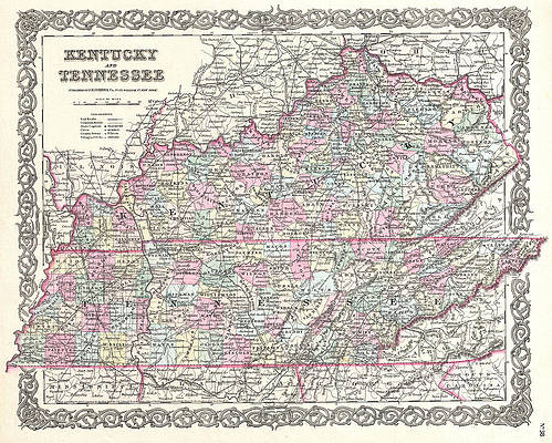 Map of Kentucky and Tennessee Print by Joseph Hutchins Colton