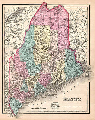 Map of Maine Print by Joseph Hutchins Colton