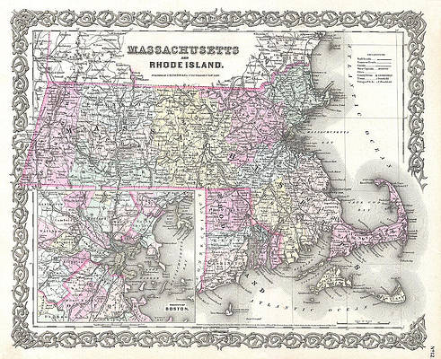 Map of Massachusetts and Rhode Island Print by Joseph Hutchins Colton