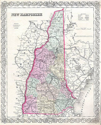 Map of New Hampshire Print by Joseph Hutchins Colton