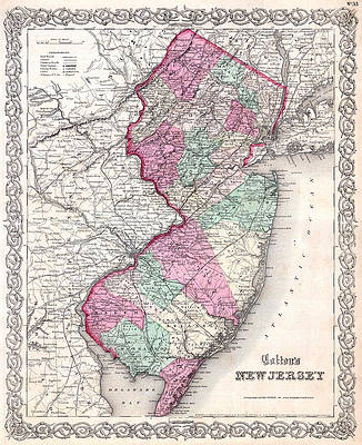 Map of New Jersey Print by Joseph Hutchins Colton