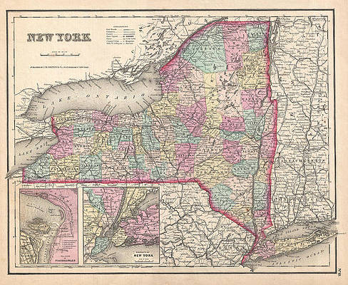 Map of New York Print by Joseph Hutchins Colton