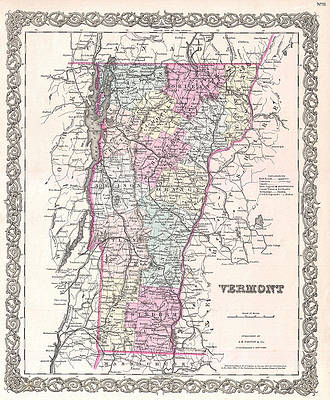 Map of Vermont Print by Joseph Hutchins Colton