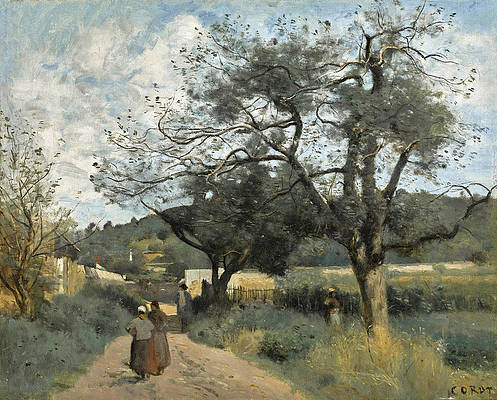 Marcoussis, Route a Travers les Champs Print by Jean-Baptiste-Camille Corot