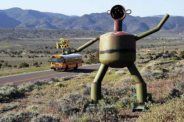 Photograph - Metal Man And School Bus by Day Williams