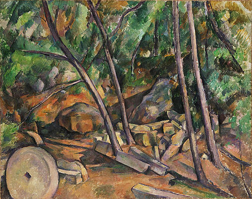 Millstone in the Park of the Chateau Noir Print by Paul Cezanne