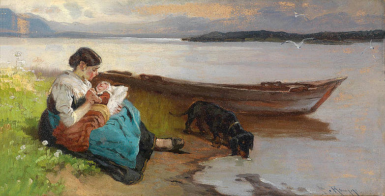 Mother with Child by the Lakeshore Print by Karl Raupp