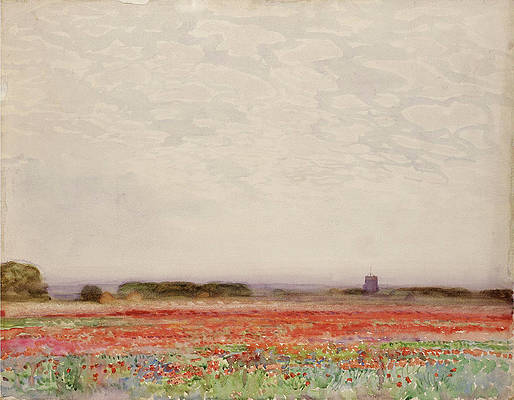 Realistic Flower Drawing - Near Cromer by Alfred East