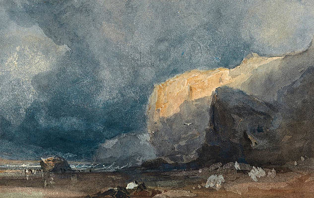 Near Ventnor. Coastal Landscape with Dark Sky Print by Eugene Isabey