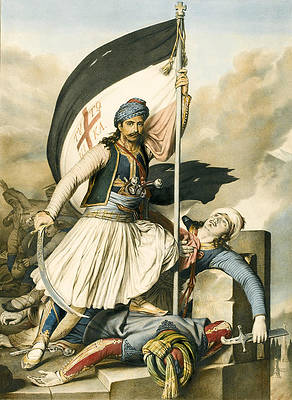 Nikolakis Mitropoulos raises the flag with the cross at Salona on Easter day 1821 Print by Louis Dupre