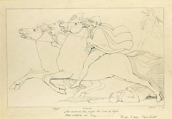 Not un'observed they pass'd the God of Light Print by John Flaxman