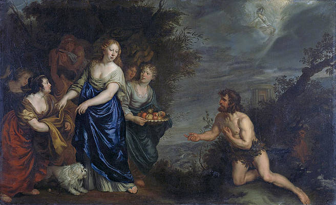 Odysseus and Nausicaa Print by Joachim von Sandrart