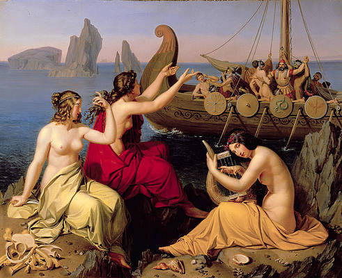 Odysseus and the Sirens Print by Alexander Bruckmann