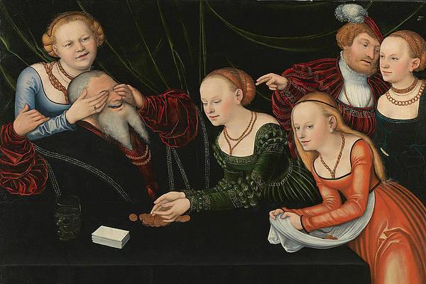 Old Man beguiled by Courtesans Print by Lucas Cranach the Elder