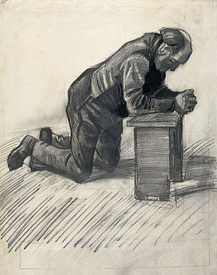 Old man praying Print by Vincent van Gogh
