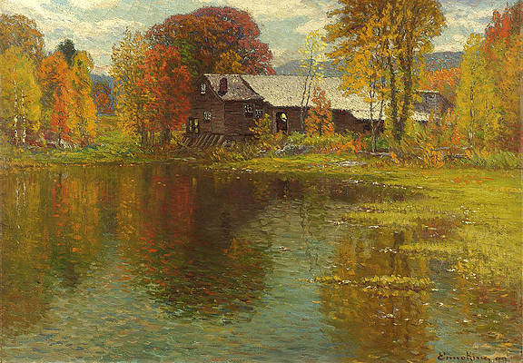 Old Mill. North Sutton. New Hampshire Print by John Joseph Enneking