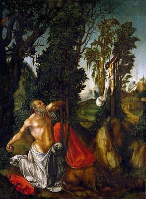 Penitent Saint Jerome Print by Lucas Cranach the Elder